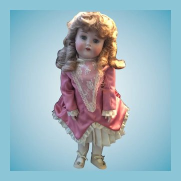 """Rare 19"""" German Porcelain Doll Marked likely made by C.F. Kling"""