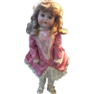 "Rare 19"" German Porcelain Doll Marked likely made by C.F. Kling"