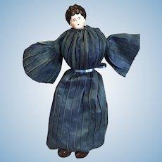 Black Hair Low Brow German China Head Doll by Hertwig