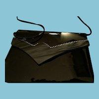Circa 1940s -50s Black Patent Leather Evening Bag