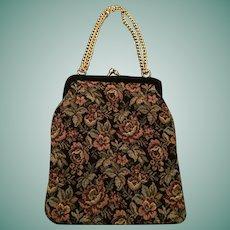 Circa 1950s Black Brocade Goldco Italy Evening Bag