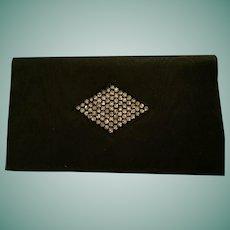 Circa 1930s Black Taffeta Evening Bag and Change Purse