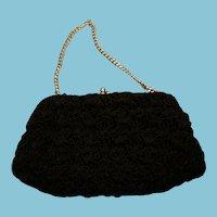 Vintage Black Beaded Clutch Evening Bag