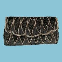 Vintage Raw Silk Black and Grey Beaded Envelope Evening Bag