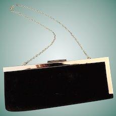 1990's Black Velvet Calvin Klein Evening Clutch Bag