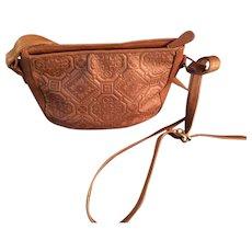 Vintage Liz Claiborne Tan Tooled Leather  Cross-Body Bag.