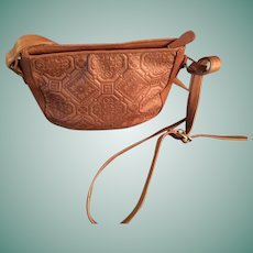 Vintage Liz Claiborne Tan Tooled Leather  Cross-Body Bag.