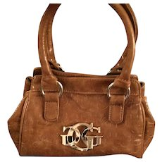 Vintage Guess Tan Tooled Leather Dual Handle Bag.