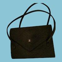 Circa 1920s -30s Dual Handled Black Envelope Evening Bag