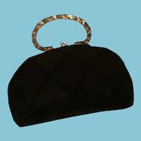 Circa 30s Black Rayon Evening Bag with Clear Lucite Handle