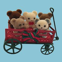 1983 Miniature Red and White Metal Wagon Full of Five Tiny Teddies