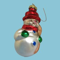 Vintage Christmas Mouth-blown Hand-painted Glass Snowman Tree Decoration