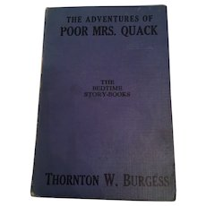 Thornton W. Burgess bedtime storybook, 'The Adventures of Poor Mrs. Quack'