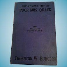 Thornton W. Burgess bedtime storybook, 'The Adventures of Poor Mrs. Quack'
