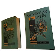 Set of 'First Year Latin' (1950) and 'Second Year Latin' (1952)Hard Cover Books