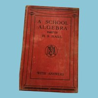 1940 'A School Algebra - Part III' Hardcover Textbook