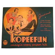 Copyright 1940, Unused,  'Kopeefun' Cartoon Activity Book