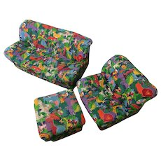 Circa 1980s Child-Sized Three Piece Jungle Print Sofa, Chair, and Footstool