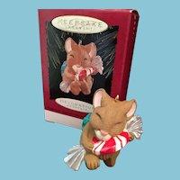 1996 Hallmark  Keepsake Porcelain Christmas Ornament 'Peppermint Surprise'