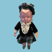 Celluloid Japanese Scottish Doll with Butterfly Mark