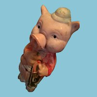 Old Celluloid Piggy Gent with his Trumpet