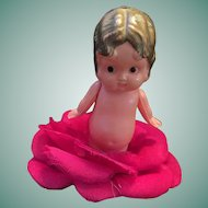'Made in Occupied Japan' Celluloid Flapper Half Doll in a Rose