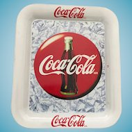 Vintage Rectangular White Tin Coca-Cola Tip Tray