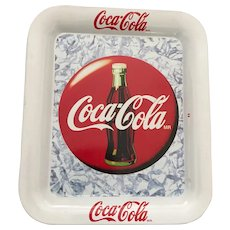 Vintage Rectangular White Tin Coca-Cola Tip Tray