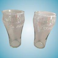 Pair of Vintage International Logo 'Enjoy Coca-Cola' Clear Glasses