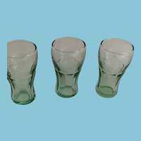 Four Vintage Green-toned Small Coca-Cola Glasses