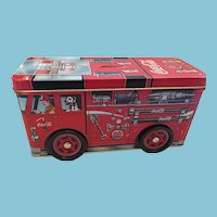 Trademarked Coca-Cola Red Firetruck Tin Box/Bank