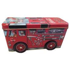 Trademarked Coca-Cola Red Firetruck Tin Box/Bank
