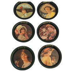 Six vintage Coca-Cola Coasters with Historic Coca-Cola Belles
