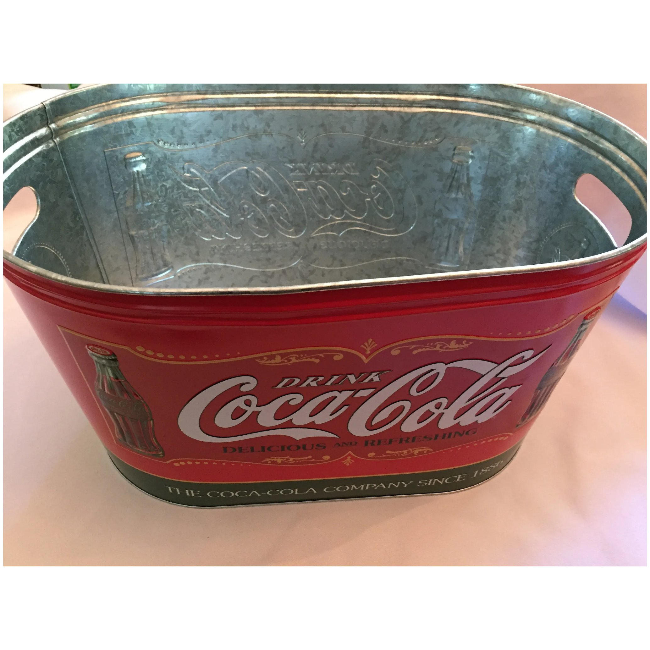 The Tin Box Company Coca Cola Large Galvanized Party Tub with Handles RED
