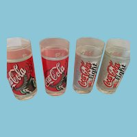 Set of Four 8 oz Coca-Cola and Coca-Cola Light Glasses