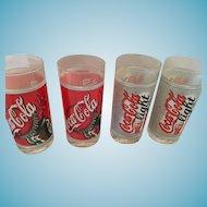 Set of Four 8 oz Coca-Cola and Coca-Cola Light Glasses