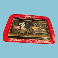 1987 Larger Rectangular 'Touring Car' Coca-Cola Tin Tray