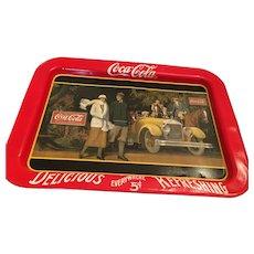 1987 Larger Rectangular 'Touring Car' Coca-Cola Tin Tray