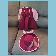 Stunning Maroon Taffeta and Pink Silk Lady's Dress and Hat