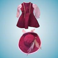 Stunning Maroon Taffeta and Pink Silk Lady's Dress and Hat
