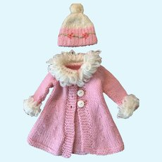 Fashionista Hand-Knit Pale Pink and White Doll Coat and Matching Toque