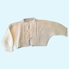 White Hand-Knit Cardigan Dolly Cardign Sweater with Raglan Sleeve