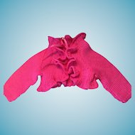 Lovely Fuschia Ruffled Hand-Knit Dolly Cardigan
