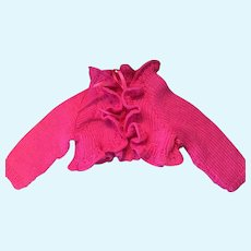 Lovely Fuschia Ruffled Hand-Knit Dolly Cardigan