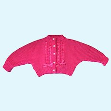 Lovely Fuschia Colored Hand-Knit Dolly Cardigan with Synthetic Pearl Buttons