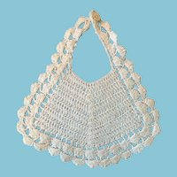 Sweet White Hand-Crocheted Baby Doll Bib