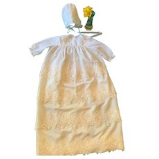 Hand-made Lace Embellished Satin Christening Gown and Matching Bonnet