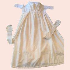 Circa 1900s -10s Seamstress-Made Long White Cotton Toddler Dress