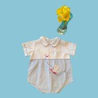 Circa 1950s - 60s Cute Cotton Baby Romper by Nannette