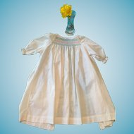 Circa 1940s -50s Beautifully Smocked White Cotton Baby Nightgown